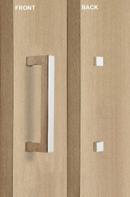 Barn Door Pull Square Door Handle Set with Decorative Fixings  (Polished Stainless Steel Finish) mockup on door