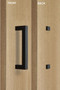 Barn Door Pull Square Door Handle Set with Decorative Fixings (Black Powder Stainless Steel Finish) mockup on door