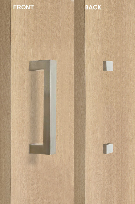 Barn Door Pull Square Door Handle Set with Decorative Fixings  (Brushed Satin Stainless Steel Finish) mockup on door