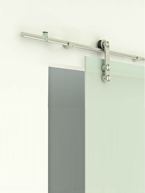 Grand-GF Series - Polished - (with adjustable rail hangers)  mockup on glass door