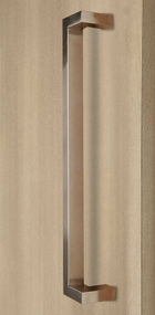 "45º Offset 1"" x 1.5"" Rectangular Pull Handle - Back-to-Back (Brushed Satin Stainless Steel Finish) mockup on door"