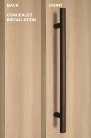One Sided Ladder Pull Handle with Concealed Surface Mount,  Bronze Powder Coated Finish, 304 Grade Stainless Steel Alloy