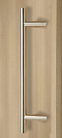 Pro-Line Series: 45º Offset Ladder Pull Handle - Back-to-Back, Brushed Satin US32D/630 Finish, 316 Exterior Grade Stainless Steel Alloy mockup on door