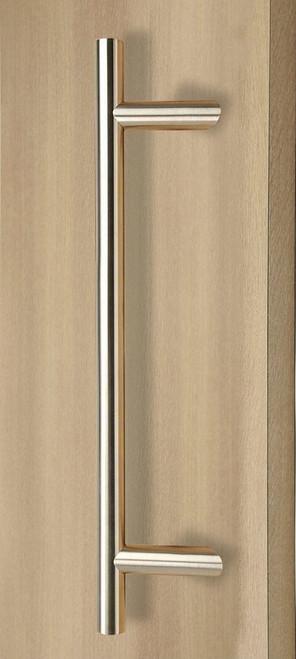 Pro-Line Series: 45º Offset Ladder Pull Handle - Back-to-Back, Brushed Satin US32D/630 Finish, 316 Exterior Grade Stainless Steel Alloy mockup on door