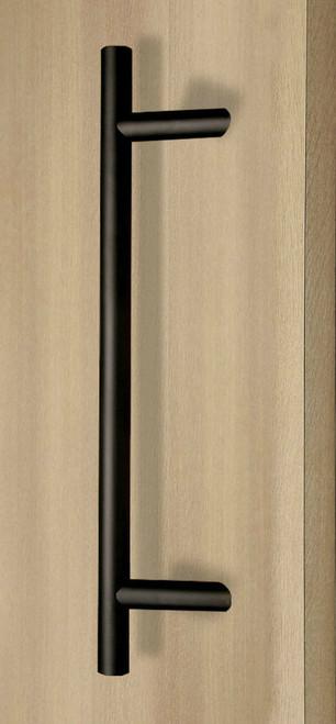 Pro-Line Series: 45º Offset Ladder Pull Handle - Back-to-Back, Matte Black Powder Coated Finish, 316 Exterior Grade Stainless Steel Alloy mockup on door