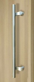 Pro-Line Series:  PostMount Offset Pull Handle - Back-to-Back, Brushed Satin US32D/630 Finish, 316 Exterior Grade Stainless Steel Alloy mockup on door