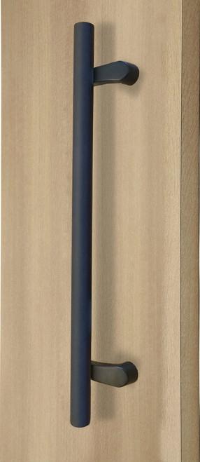 Pro-Line Series:  PostMount Offset Pull Handle - Back-to-Back, Matte Black Powder Coated Finish, 316 Exterior Grade Stainless Steel Alloy mockup on door