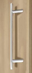 Pro-Line Series: 45º Offset Ladder Pull Handle - Back-to-Back, Polished US32/629 Finish, 316 Exterior Grade Stainless Steel Alloy mockup on door