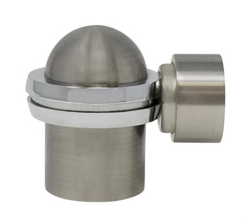 Floor-Mounted Round Top Magnetic Door Stop with hidden screw mounts (Brass Satin Nickel Finish)