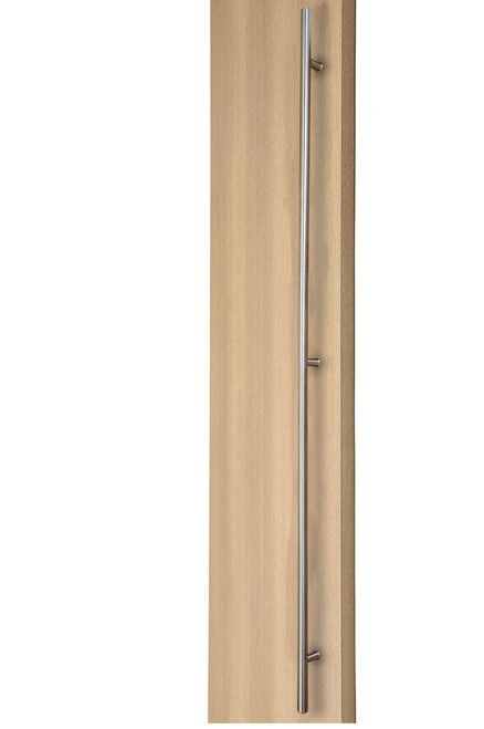 84 inch Ladder Pull Handle with 3-hole mounting - Back-to-Back (Brushed Satin Stainless Steel Finish) mockup on door