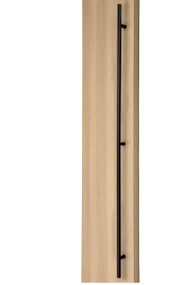 84 inch Ladder Pull Handle with 3-hole mounting - Back-to-Back (Black Powder Stainless Steel Finish) mockup on door