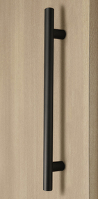 Pro-Line Series: Ladder Pull Handle - Back-to-Back, Matte Black Powder Coated Finish, 304 Grade Stainless Steel Alloy mockup on door