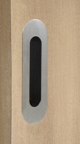 "One-Sided 6-5/16"" Pressure Fit Recess Pull Handle, Snap-In, for Wood Doors - Oval (Brushed Satin Stainless Steel)"