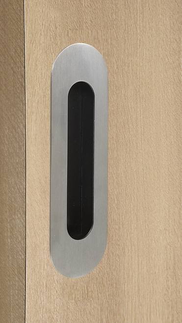 "One-Sided 6-5/16"" Pressure Fit Recess Pull Handle, Snap-In, for Wood Doors - Oval (Brushed Satin Stainless Steel) mockup on door"