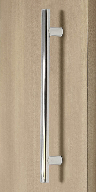 Pro-Line Series: Ladder Pull Handle - Back-to-Back, Polished US32/629 Finish, 304 Grade Stainless Steel Alloy mockup on door