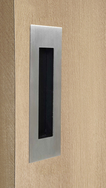 """One-Sided 6-5/16"""" Pressure Fit Recess Pull Handle, Snap-In, for Wood Doors - Rectangular (Brushed Satin Stainless Steel) mockup on door"""