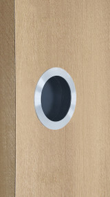 "One-Sided 2.95"" Pressure Fit Recess Pull Handle, Snap-In, for Wood Doors - Round (Brushed Satin Stainless Steel)"