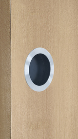 "One-Sided 2.95"" Pressure Fit Recess Pull Handle, Snap-In, for Wood Doors - Round (Brushed Satin Stainless Steel) mockup on door"