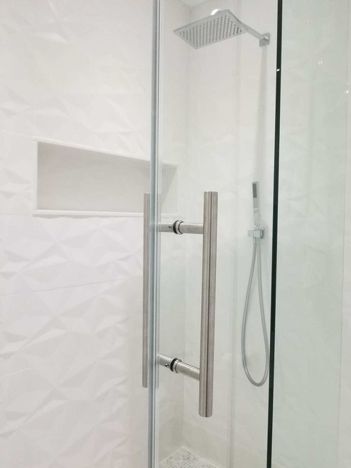 """Shower Door 12"""" Ladder Style Back-to-Back Pull Handle,  3/4"""" diameter (Brushed Satin Stainless Steel Finish) on glass door"""