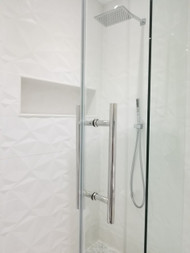 "Shower Door 12"" Ladder Style Back-to-Back Pull Handle,  3/4"" diameter (Polished Stainless Steel Finish) on glass door"