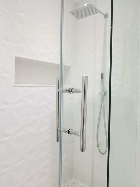 "Shower Door 10"" Ladder Style Back-to-Back Pull Handle,  3/4"" diameter (Polished Stainless Steel Finish) on glass door"