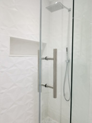 "Shower Door 10"" Ladder Style Back-to-Back Pull Handle,  3/4"" diameter (Brushed Satin Stainless Steel Finish)"