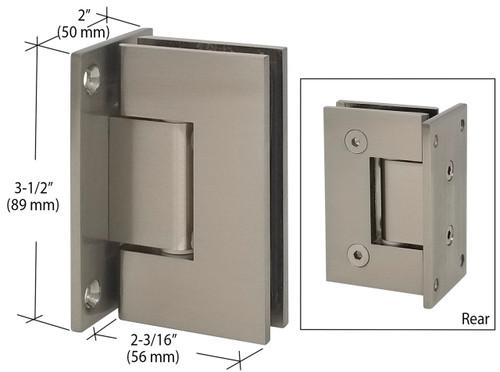 Brushed Nickel Wall Mount Full Back Plate Glass Door Hinge
