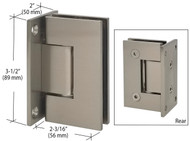 Brushed Nickel Wall Mount Full Back Plate Glass Door Hinge