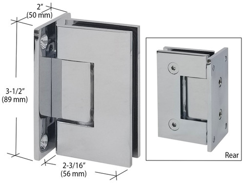 Polished Chrome Wall Mount Full Back Plate Glass Door Hinge