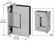 Polished Chrome Wall Mount Full Back Plate Glass Door Hinge