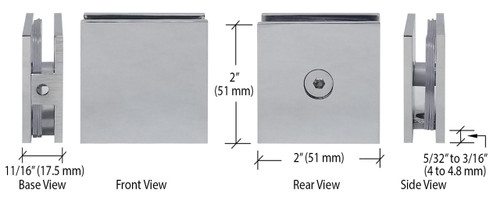 Polished Chrome Square Style Hole-in-Glass Fixed Panel U-Clamp