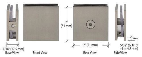 Brushed Nickel Square Style Hole-in-Glass Fixed Panel U-Clamp