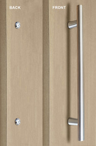 Pro-Line Series:  One Sided Ladder Pull Handle with Countersunk Thru-Bolt  Washers, Brushed Satin US32D/630 Finish, 304 Grade Stainless Steel Alloy