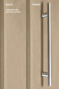 Pro-Line Series:  One Sided Ladder Pull Handle with Concealed Surface Mount, Brushed Satin US32D/630 Finish, 304 Grade Stainless Steel Alloy