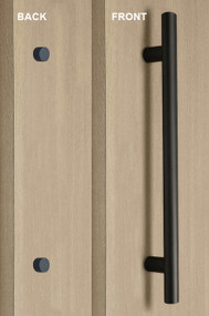 Pro-Line Series: One Sided Ladder Pull Handle with Decorative Thru-Bolt End Cap, Matte Black Powder Coated Finish, 304 Grade Stainless Steel Alloy