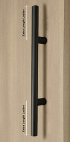 Product shot Extra Length Ladder Style Back-to-Back Push-Pull Door Handle (Matte Black Powder Coated Stainless Steel Finish)