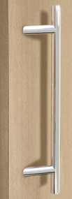 Pro-Line Series:  One Sided 45º Offset Ladder Pull Handle, Polished US32/629 Finish, 316 Exterior Grade Stainless Steel Alloy