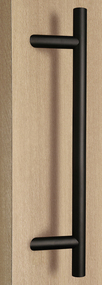 Pro-Line Series:  One Sided 45º Offset Ladder Pull Handle, Matte Black Powder Finish, 316 Exterior Grade Stainless Steel Alloy