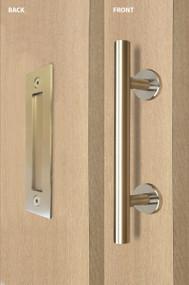 Barn Door Pull and Flush Tubular Door Handle Set (Satin Brass Stainless Steel Finish)