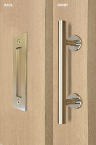 Barn Door Pull and Flush Tubular Door Handle Set (Satin Brass Stainless Steel Finish) mockup on door