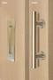 Barn Door Pull and Flush Tubular Door Handle Set (Satin Brass Stainless Steel Finish) mockup on door