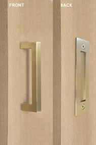Barn Door Pull and Flush Rectangular Door Handle Set (Satin Brass Stainless Steel Finish)
