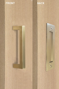 Barn Door Pull and Flush Rectangular Door Handle Set (Satin Brass Stainless Steel Finish)