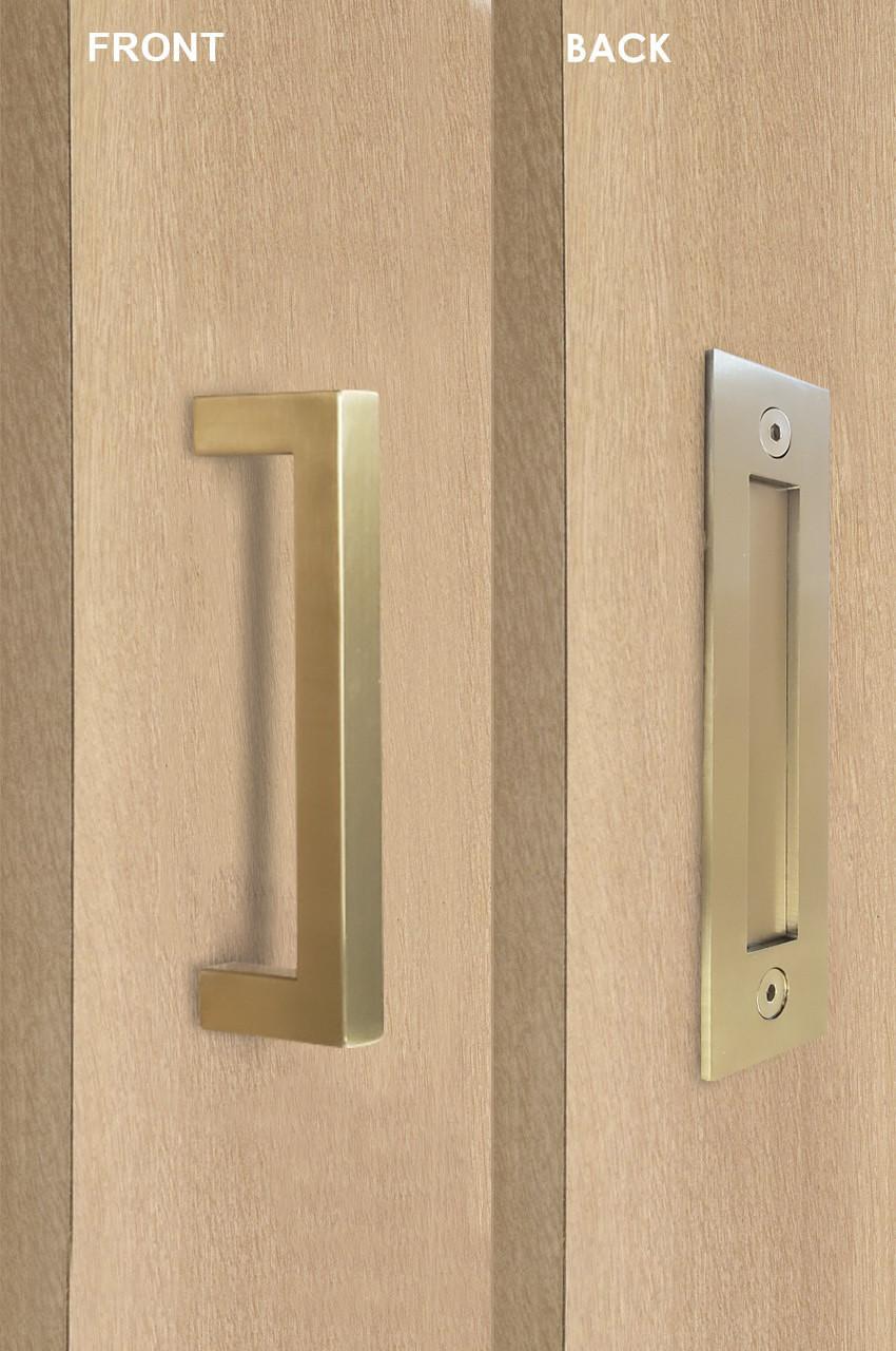 Barn Door Pull And Flush Rectangular Door Handle Set Satin Brass Stainless Steel Finish