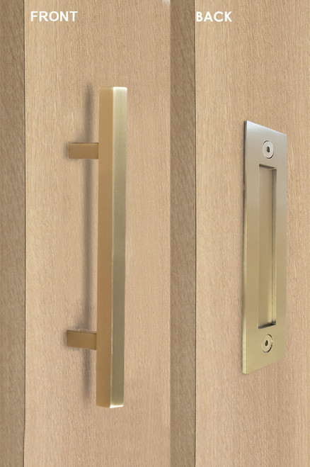 Barn Door Pull and Flush Square Door Handle Set (Satin Brass Stainless Steel Finish)