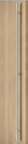 92 inch Ladder Pull Handle with 3-hole mounting - Back-to-Back (Polished Stainless Steel Finish) mockup on door