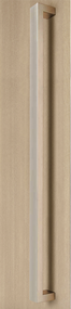 "96"" length, 1.5"" x 1"" Rectangular Pull Handle - Back-to-Back (Brushed Satin Stainless Steel Finish) mockup on wood door"