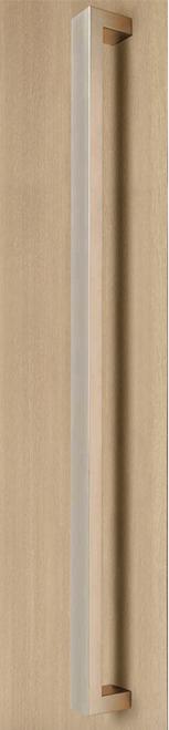 "96"" length, 1.5"" x 1"" Rectangular Pull Handle - Back-to-Back (Brushed Satin Stainless Steel Finish) mockup on wood door"