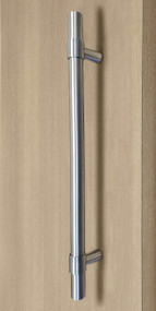 Product Image Pro-Line Series: Ladder Pull Handle with Collar Mounting Posts - Back-to-Back, Brushed Satin US32D/630 Finish, 304 Grade Stainless Steel Alloy