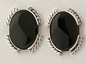 Large Black Onyx Sterling Silver Earrings